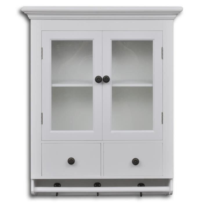 armoire de cuisine rangement avec 2 portes en verre et 2 tiroirs blanc 59 x 22 5 x 74 cm achat. Black Bedroom Furniture Sets. Home Design Ideas