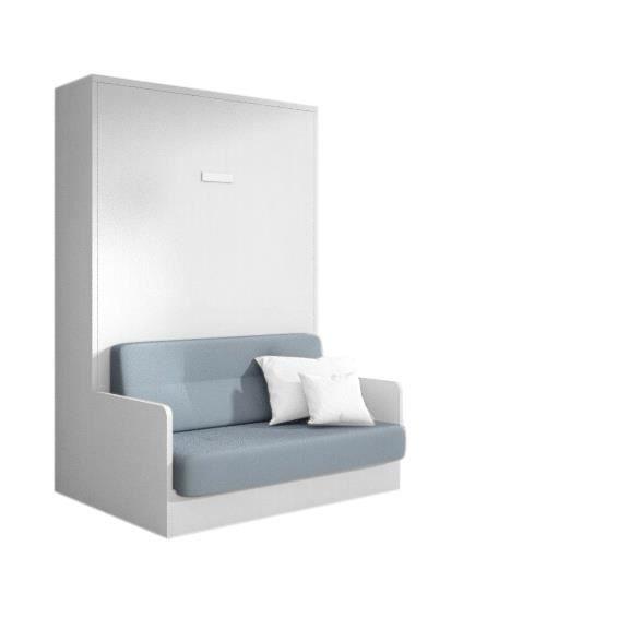 Joy armoire lit 140x200 ch ne blanc avec canap achat for Canape 90x200