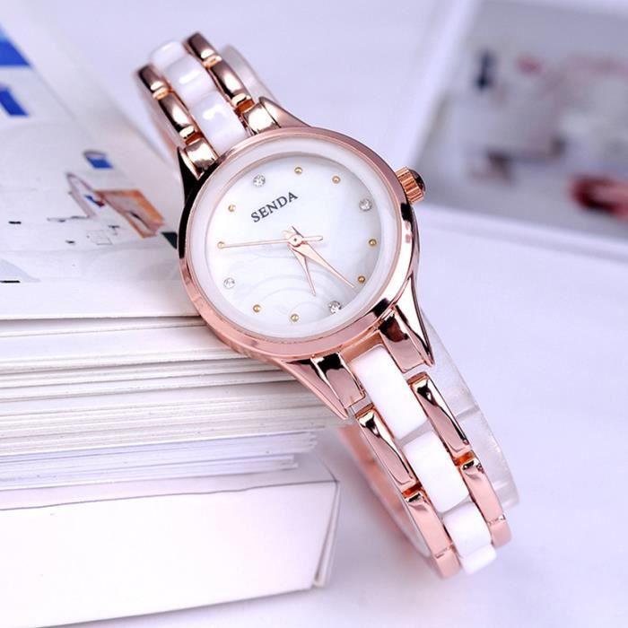 Mode femmes r sine imitant c ramique bracelet montres luxe fille strass quartz d coration for Montre decoration