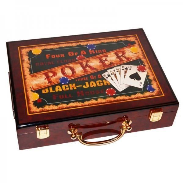 coffret jetons poker bois verni black jack marron achat vente jeton de jeu cdiscount. Black Bedroom Furniture Sets. Home Design Ideas
