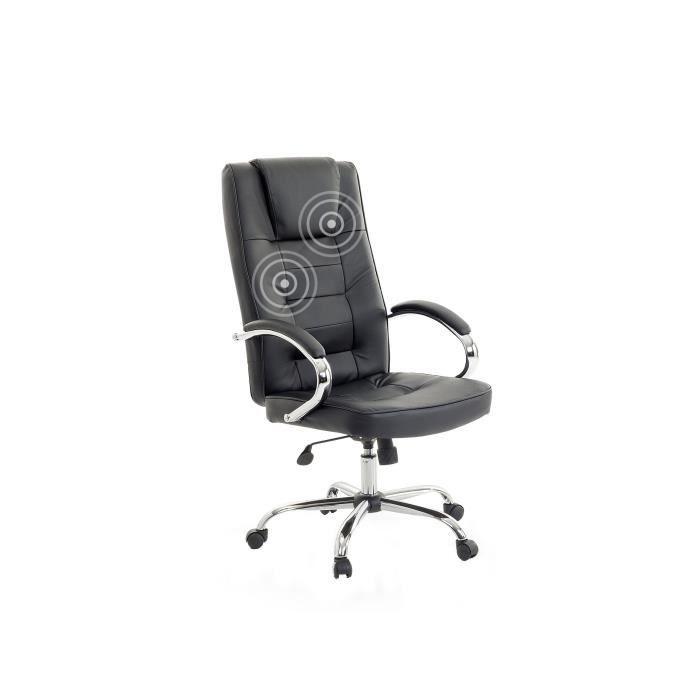 Fauteuil massant chaise de bureau pu noir et pied chrome diamond ii a - Fauteuil bureau massant ...