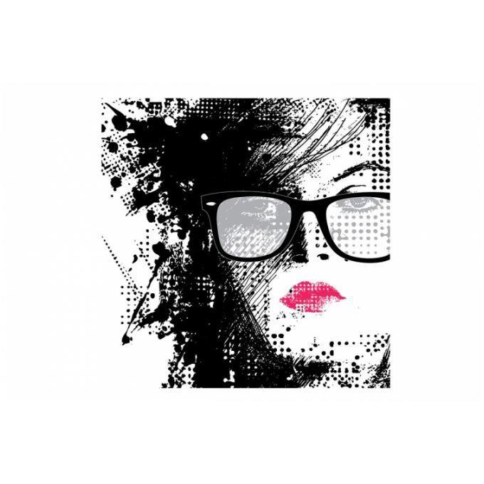 Tableau pop femme graphique rose et noir 50x50 cm achat for Tableau noir et rose