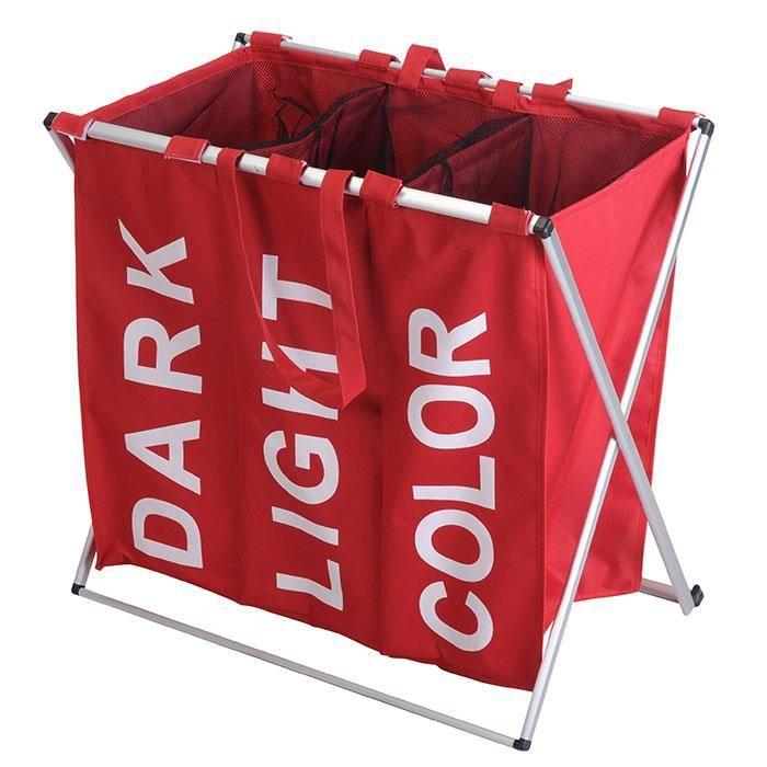 panier linge triple trois compartiments pliable structure alu rouge achat vente. Black Bedroom Furniture Sets. Home Design Ideas