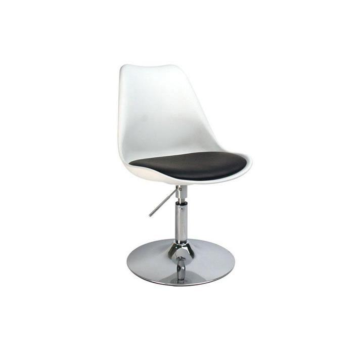Chaise blanc pivotante steevy r glable en hauteur achat - Chaise de bureau reglable en hauteur sans roulette ...