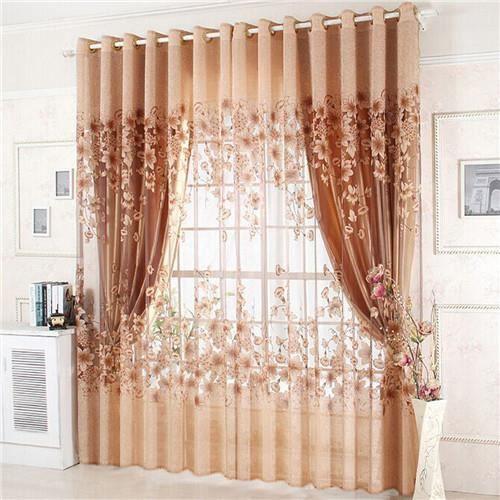 Paire de rideau oeillets fleur rideaux voilage de vitre for Decoration maison rideaux fenetre