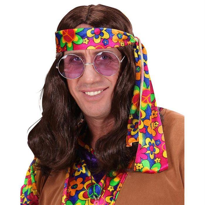 perruque de hippie homme brune achat vente chapeau perruque cdiscount. Black Bedroom Furniture Sets. Home Design Ideas