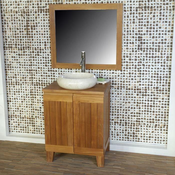 meuble salle de bain en teck 60 cm tabago ba achat vente meuble vasque plan meuble salle. Black Bedroom Furniture Sets. Home Design Ideas