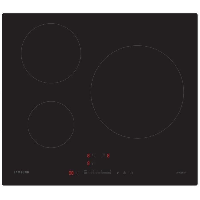 samsung nz63h37070k table de cuisson induction 3 zones 7200w l59 5xp52cm rev tement verre noir. Black Bedroom Furniture Sets. Home Design Ideas
