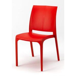 fauteuil jardin 4 chaises rouge en plastique resine empilable colo - Chaise Jardin Colore