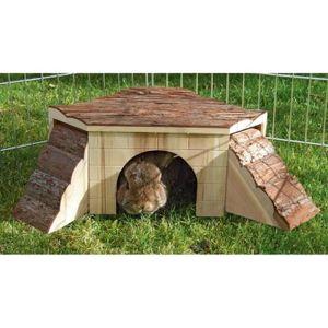 ACCESSOIRE ABRI ANIMAL KERBL Maison Nature avec rampe pour rongeurs - 37x
