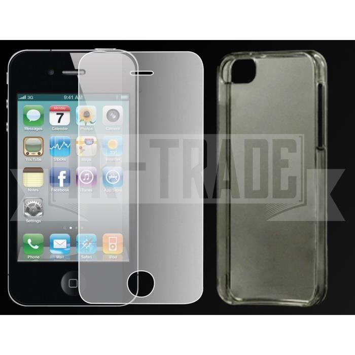 iphone 4 4s verre tremp protecteur silicone achat accessoires smartphone pas cher avis et. Black Bedroom Furniture Sets. Home Design Ideas