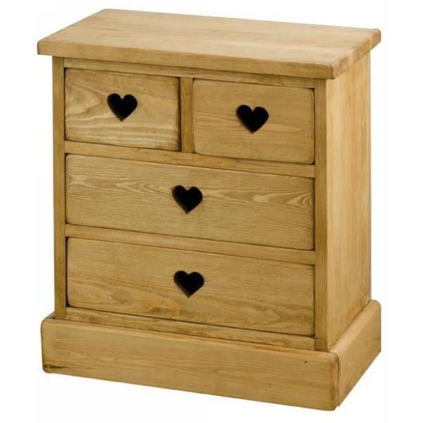 maison meubles mobilier mini commode  tiroirs coeur pin massif couleu f auc
