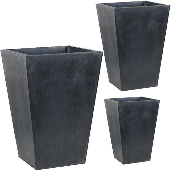 Jardinière - pot fleur cache-pot en zinc noir, série de 3, gcp104s