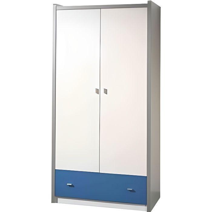 armoire enfant laqu blanc et bleu 2 portes 1 tiroir. Black Bedroom Furniture Sets. Home Design Ideas