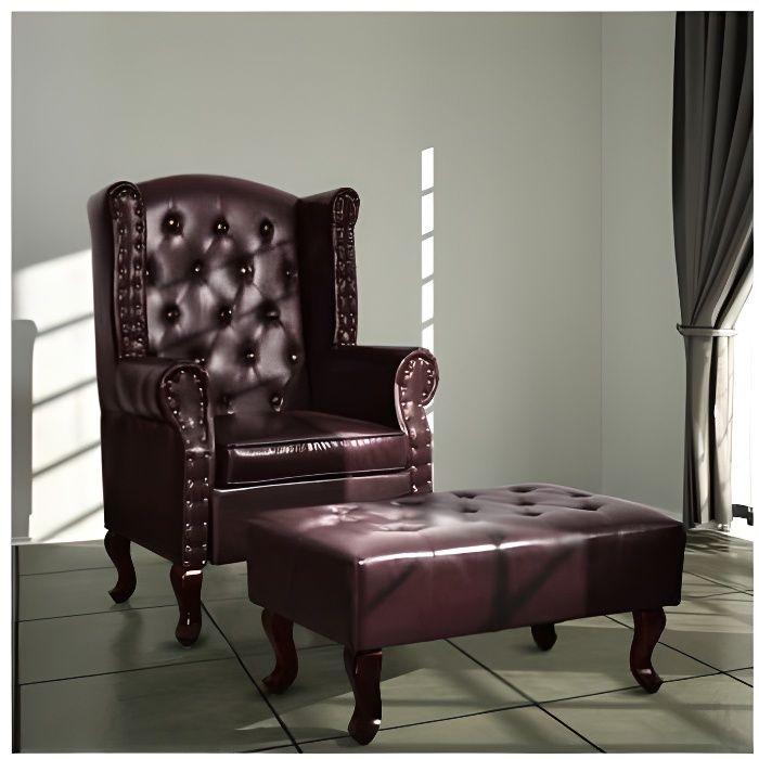 superbe fauteuil chesterfield pouf brun antique achat vente fauteuil cuir bois pu. Black Bedroom Furniture Sets. Home Design Ideas