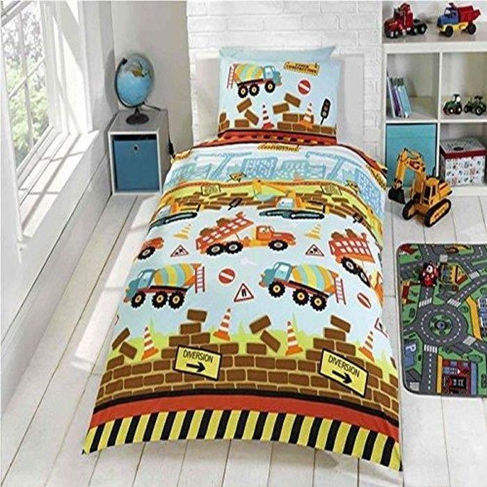 parure de lit camion tracteur achat vente parure de couette cdiscount. Black Bedroom Furniture Sets. Home Design Ideas