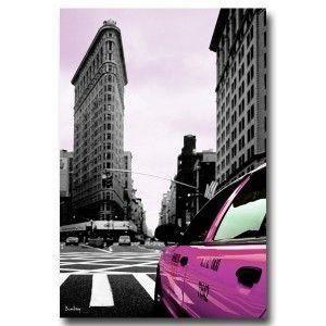 Tableau new york taxi rose fond noir et blanc 5 achat for Tableau noir et rose