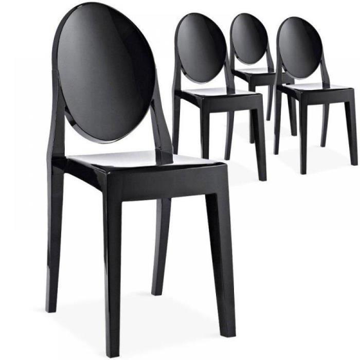 Lot de 2 chaises de salon raven noire achat vente for Chaise noir salon