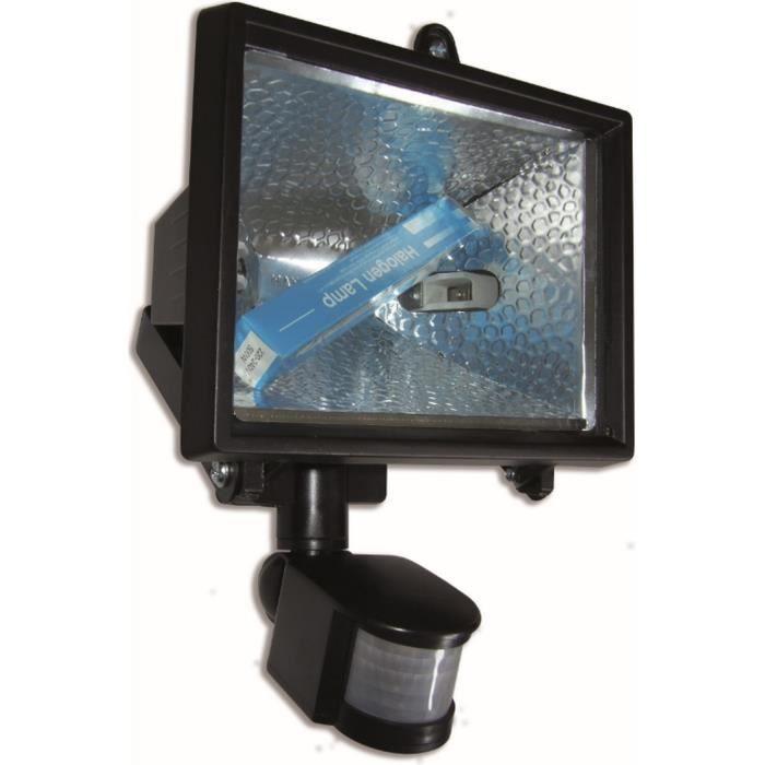 projecteur halog ne noir 400w avec d tecteur de mouvement. Black Bedroom Furniture Sets. Home Design Ideas