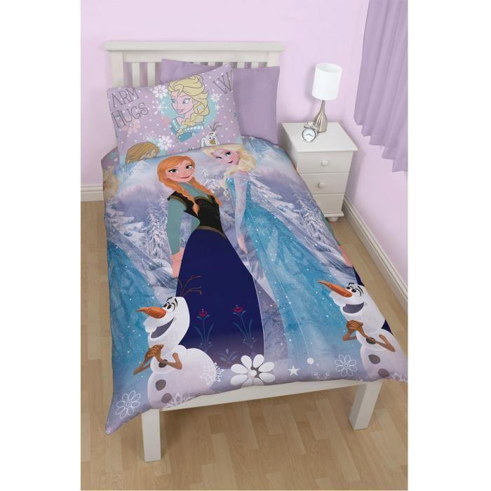 housse de couette et taie d 39 oreiller la reine des neiges fille achat. Black Bedroom Furniture Sets. Home Design Ideas