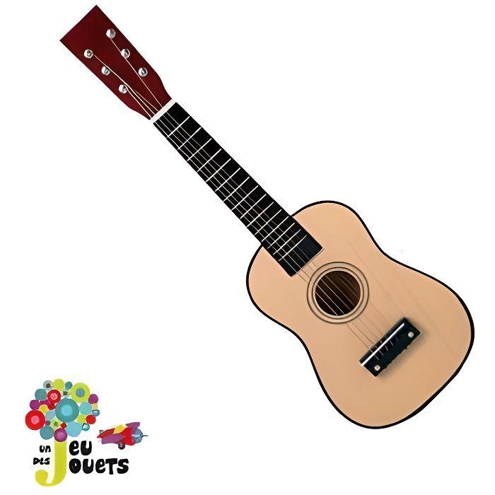 veritable guitare 6 cordes instrument de musique pour enfant 3 ans et plus naturel achat. Black Bedroom Furniture Sets. Home Design Ideas
