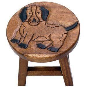 Sun d'koh - Tabouret en bois chien 25 cm