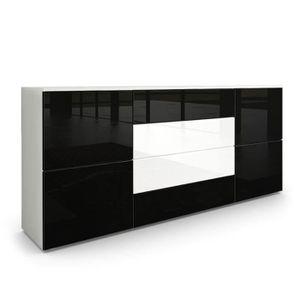 buffet laque noir et blanc achat vente buffet laque. Black Bedroom Furniture Sets. Home Design Ideas