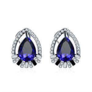 BAGUE - ANNEAU Boucles d'oreilles en saphir Bleu diamant femme