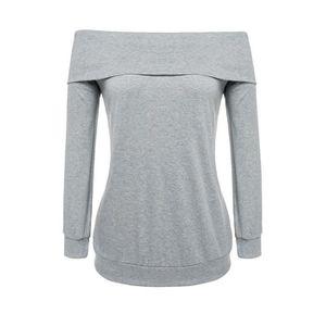 T-SHIRT T-Shirt femme Meaneor sexy sur épaule manches l...