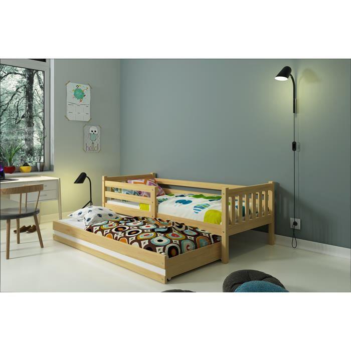 lit gigogne carino 190x80 pin naturel avec matelas achat vente lits superpos s lit gigogne. Black Bedroom Furniture Sets. Home Design Ideas