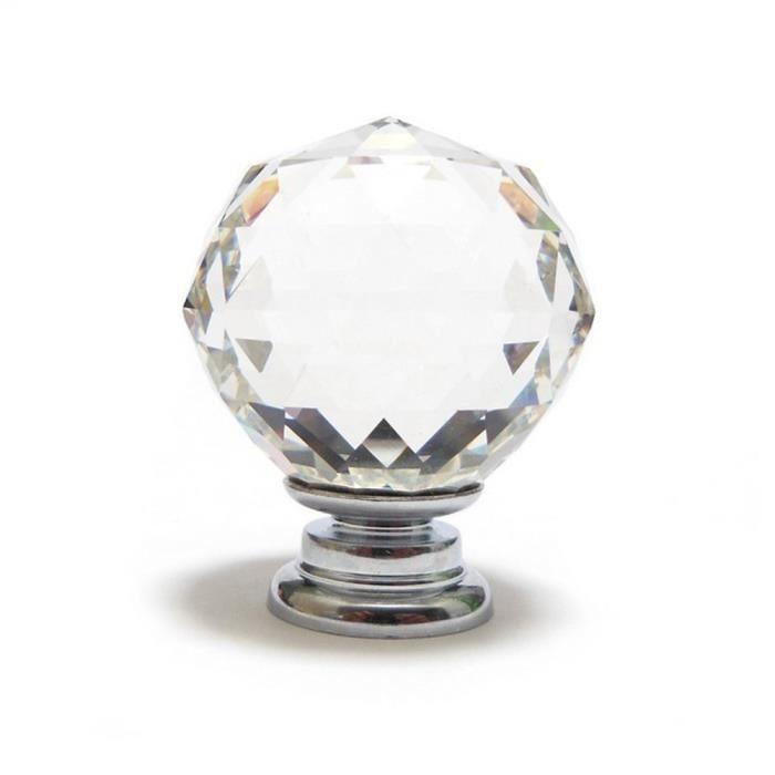 30mm unique poign e en cristal de verre cuisine armoires - Bouton de porte en verre ...