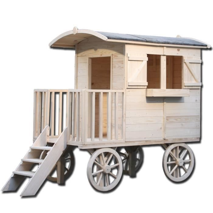 Gegw petite roulotte lys en bois pour enfant achat for Maisonnette smoby occasion