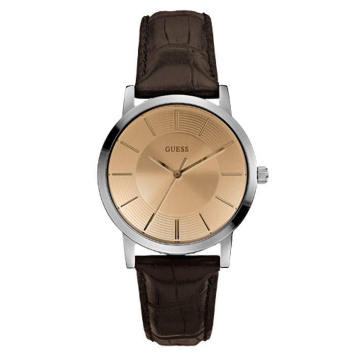 montre guess homme bracelet cuir marron tendance achat vente montre cdiscount. Black Bedroom Furniture Sets. Home Design Ideas