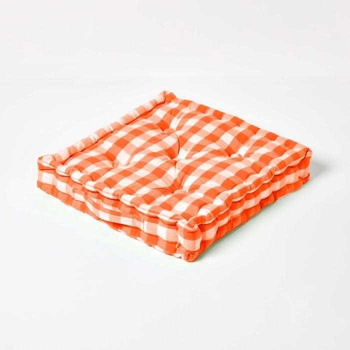 coussin de sol orange carreaux 40 x 40 cm achat. Black Bedroom Furniture Sets. Home Design Ideas