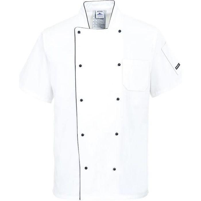 Veste de cuisine manches courtes respirante coolite blanc for Tenue professionnelle cuisine