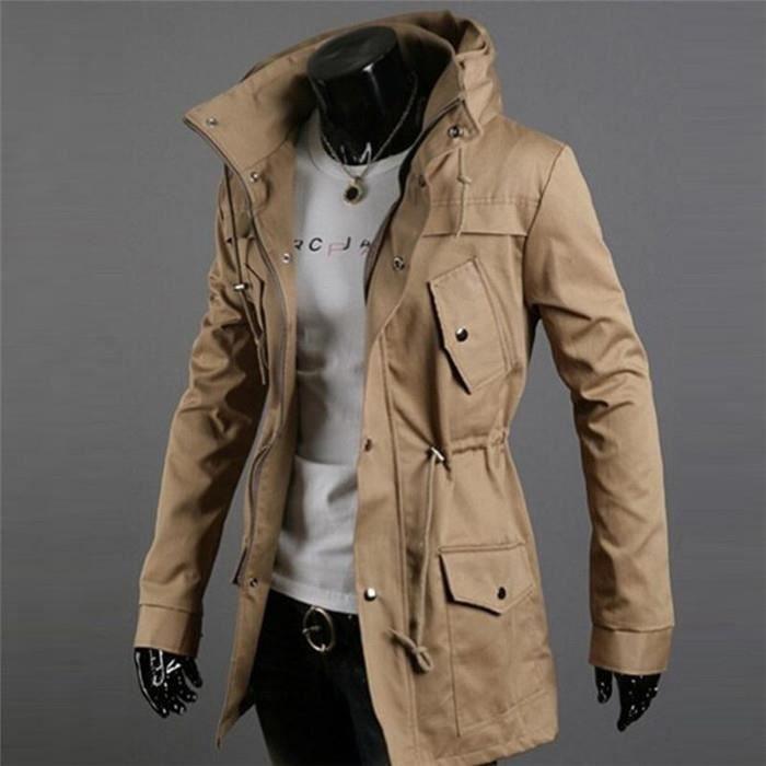 blouson veste jacket parka homme manches longue kaki achat vente parka cdiscount. Black Bedroom Furniture Sets. Home Design Ideas