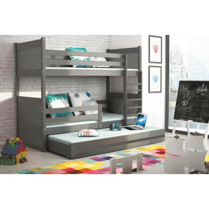 lit superpos rico 3 gris en pin 190x80 avec sommiers et. Black Bedroom Furniture Sets. Home Design Ideas