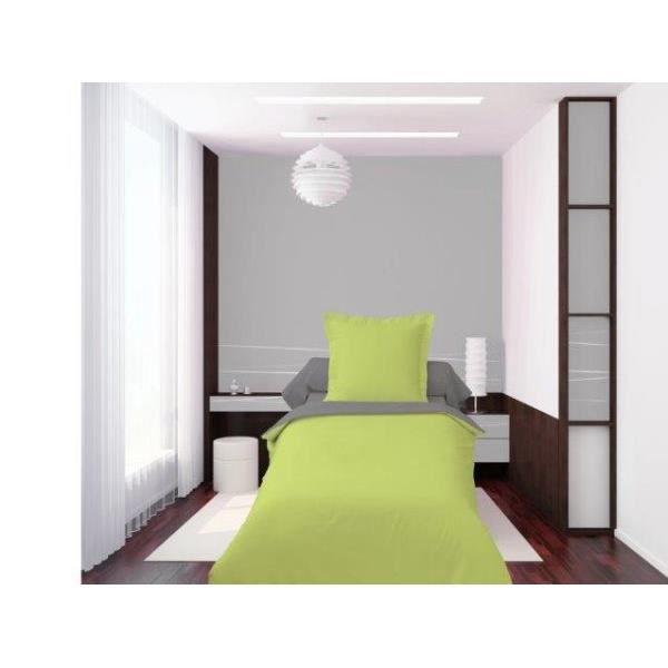 housse de couette 140x200cm 1 taie d oreiller bicolore. Black Bedroom Furniture Sets. Home Design Ideas