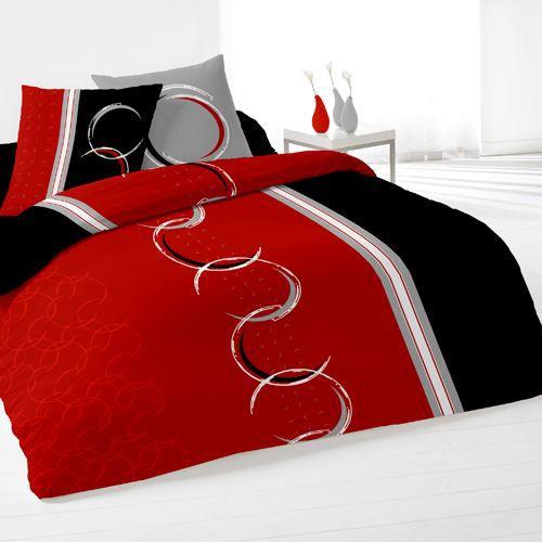 Housse de couette et deux taies dimension rouge achat vente parure de lit - Couette deux personnes ...