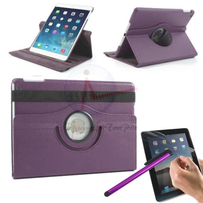 housse coque etui cuir violet pour ipad air 2 rotative 360 stylet film prix pas cher. Black Bedroom Furniture Sets. Home Design Ideas