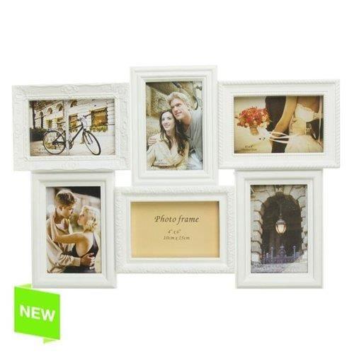 cadre photo multiple 6 photo blanc achat vente cadre photo les soldes sur cdiscount. Black Bedroom Furniture Sets. Home Design Ideas