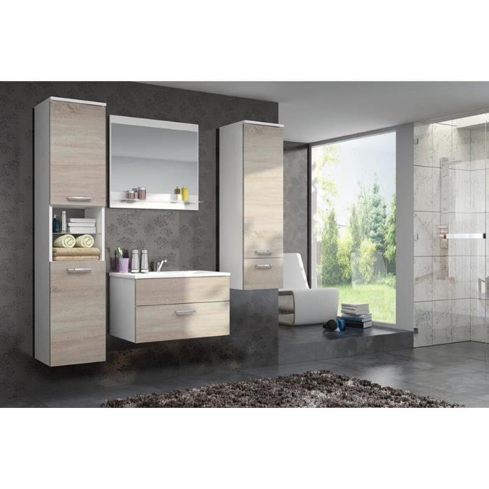 justhome dela ensemble salle de bain 4 pi ces couleur blanc sonoma achat vente salle. Black Bedroom Furniture Sets. Home Design Ideas