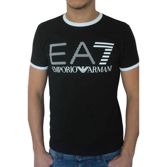 t shirt ea7 emporio armani homme manches courtes noir noir achat vente t shirt soldes. Black Bedroom Furniture Sets. Home Design Ideas