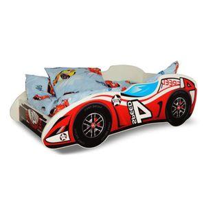 LIT COMPLET Lit voiture F1 rouge+sommier+matelas 140x70cm