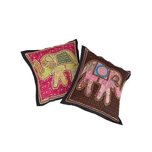 la main d 39 l phant de patchwork housse de coussin 21 par 21 pouces paire 2 pcs achat vente. Black Bedroom Furniture Sets. Home Design Ideas