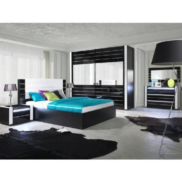Lit adulte design lina noir et blanc laqu t te de lit for Chambre a coucher complete 1 personne