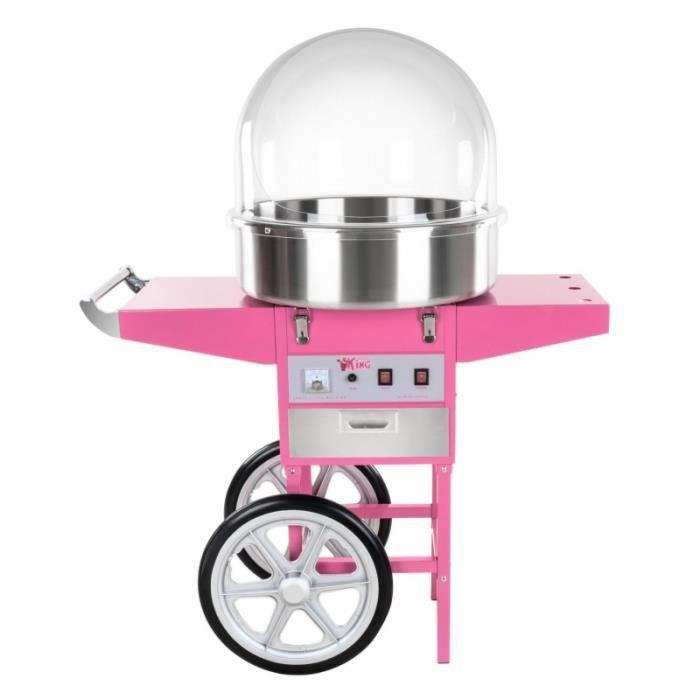 Machine à barbe à papa professionnelle diamètre 52 cm avec chariot et coupole de protection ...