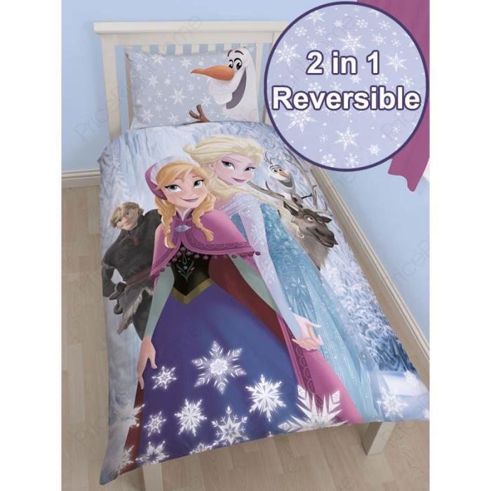 housse de couette la reine des neiges 1 personne achat vente housse de couette soldes d. Black Bedroom Furniture Sets. Home Design Ideas