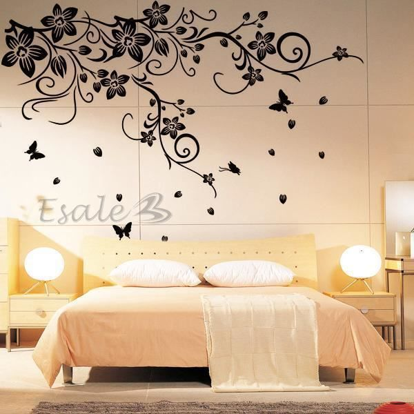 sticker mural fleur papillon en pvc d coration 60x150cm pour ma son salon achat vente. Black Bedroom Furniture Sets. Home Design Ideas