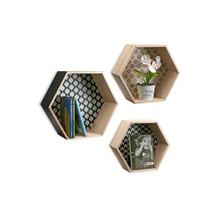 set de 3 tag res hexagonale style scandinave en bois peps achat vente meuble tag re set de. Black Bedroom Furniture Sets. Home Design Ideas